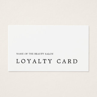 Modern Minimal Black White Beauty Loyalty Card