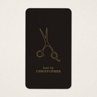 Modern Minimal Dark Faux Gold Hair Stylist Business Card