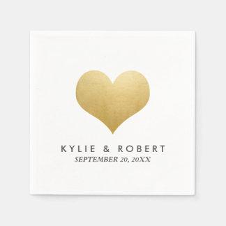Modern Minimal Faux Gold Foil Cute Heart Wedding Paper Napkins