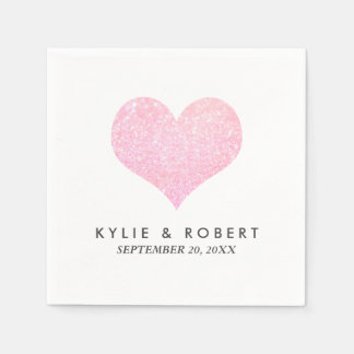 Modern Minimal Faux Rose Glitter Heart Wedding Disposable Napkins