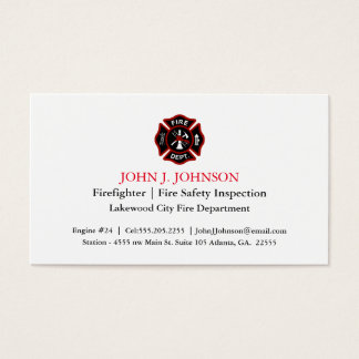 Modern Minimal Firefighter   Fire Inspector White Business Card