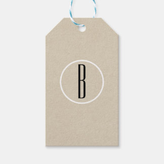 Modern Minimal Kraft Rustic Monogram Wedding Favor Gift Tags