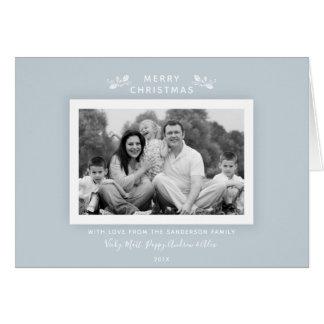 Modern Minimal Light Blue + White Holiday Photo Card