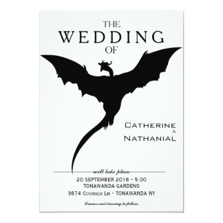 Modern Minimal Medieval Dragon Wedding Invitation