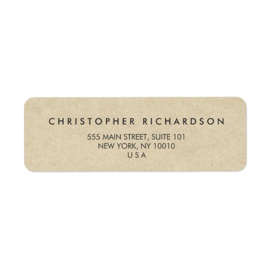 MODERN & MINIMAL on TAN CARDBOARD Address Label