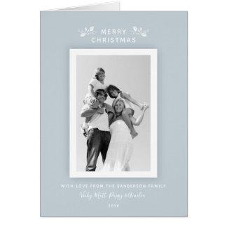 Modern Minimal Pale Blue + White Christmas Photo Card