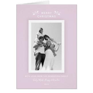 Modern Minimal Pastel Pink + White Christmas Photo Card