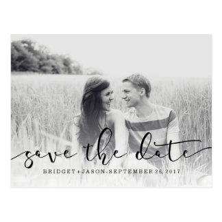 Modern MINIMAL Photo SCRIPT SAVE THE DATE Postcard