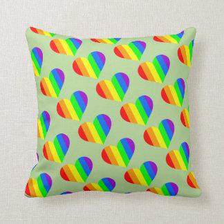 Modern Minimal Rainbow Heart Pillow