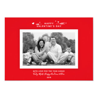 Modern Minimal Red Valentine's Day Family Photo Card