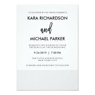 Modern Minimal Soft Gray Stripe Wedding Invitation