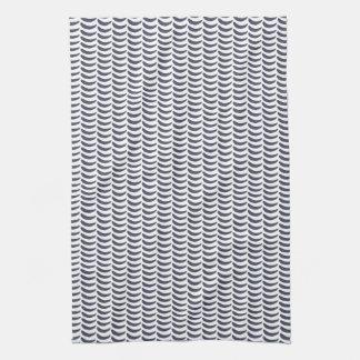 Modern Minimal Waves Blue Pattern Kitchen Towel