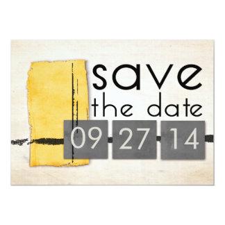 "Modern Minimalism Yellow  Gray Save the Date 5"" X 7"" Invitation Card"
