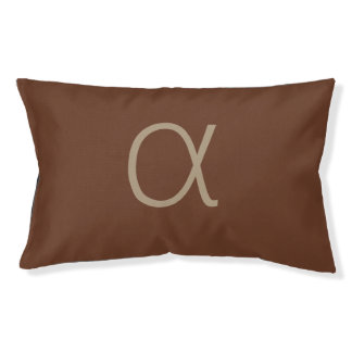 Modern Minimalist Alpha Letter on Chocolate Brown Pet Bed