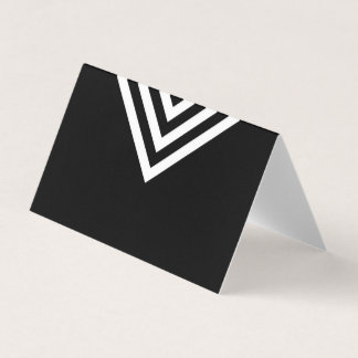 Modern Minimalist Black and White Geometric Place Card