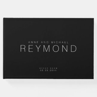 modern minimalist black wedding guest book