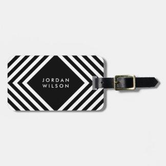 Modern Minimalist Black with White Geometric Lines Luggage Tag