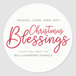 Modern & Minimalist Christmas Blessings Red White Classic Round Sticker