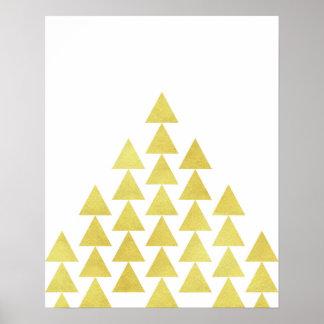 Modern minimalist geometric gold foil triangle art poster