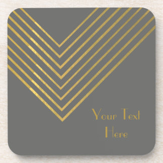 Modern Minimalist Gold Geometric Design Drink Coaster