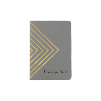 Modern Minimalist Gold Geometric Design Passport Holder