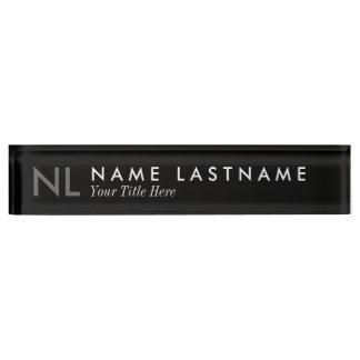 Modern Minimalist Monogram Black Desk Nameplate