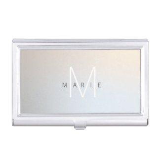 Modern Minimalist Monogram Luminous Silver Business Card Holder