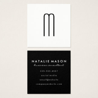 Modern Minimalist Monogram Square Business Card