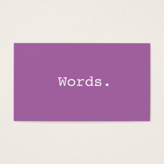 Modern minimalist purple writer publisher editor business card