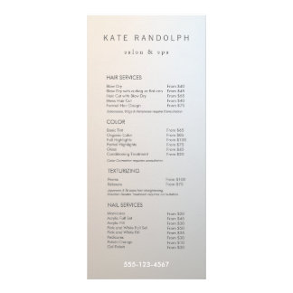 Modern Minimalist Salon Price List Service Menu Rack Card Design