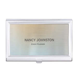 Modern Minimalist Silver Reflection Business Card Holder