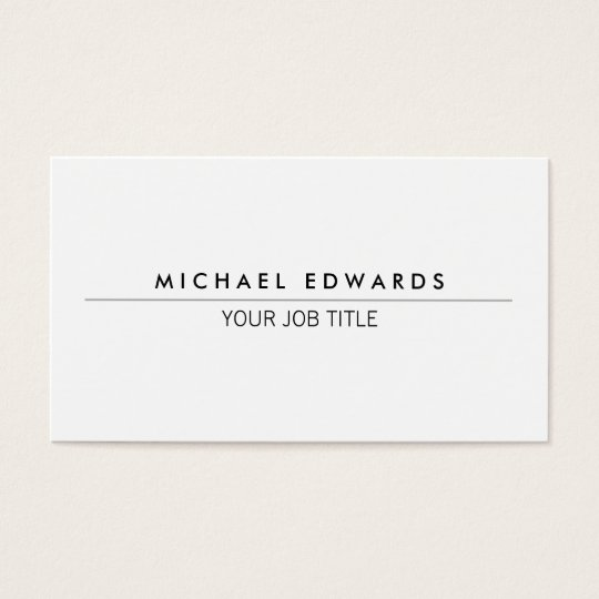 Modern minimalist simple professional white business card