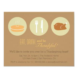 Modern Minimalist Thanksgiving Dinner Party Card