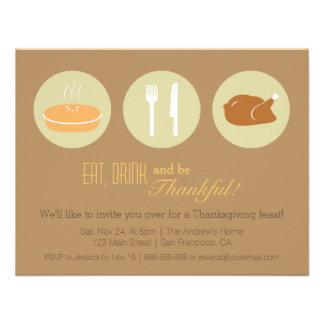 Modern Minimalist Thanksgiving Dinner Party Announcement