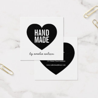 Modern Minimalist White and Black Handmade Heart Square Business Card
