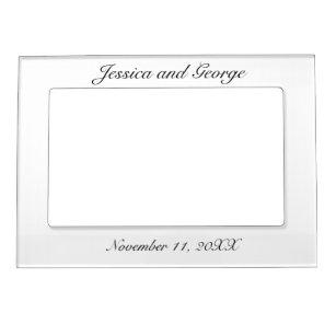 Modern Minimalist White Black Wedding Magnetic Frame