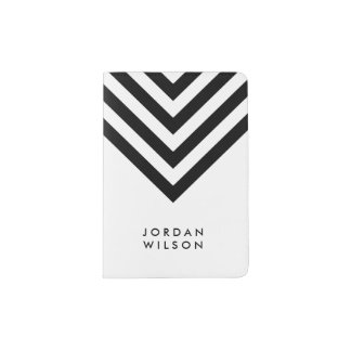 Modern Minimalist White with Black Chevron Name Passport Holder