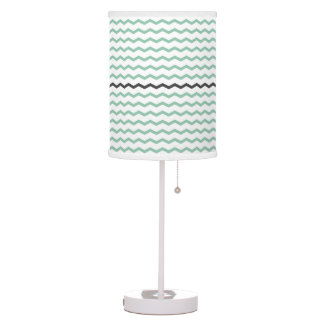 Modern Mint and Gray Chevron Table Lamp