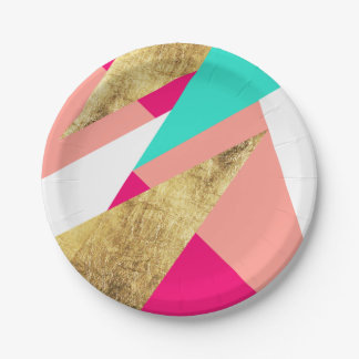 Modern mint coral gold triangles color block 7 inch paper plate
