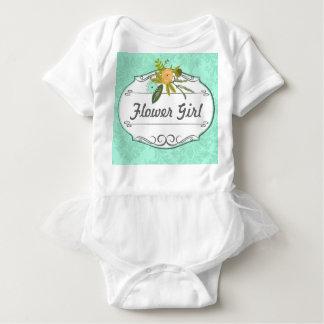 Modern Mint  Damask Flower Girl Wedding T-shirts