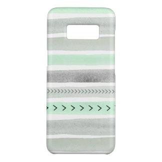 Modern Mint Green Gray Watercolor Stripes Design Case-Mate Samsung Galaxy S8 Case