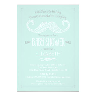"Modern Mint Green Little Man Mustache Baby Shower 5"" X 7"" Invitation Card"
