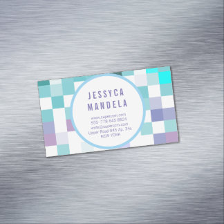 Modern mint green magnetic 	Magnetic business card
