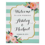 Modern Mint Green Stripes Floral Deco Wedding Sign