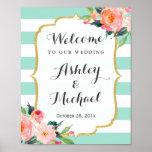 Modern Mint Green Stripes Floral Deco Wedding Sign