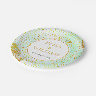 Modern mint green watercolor gold confetti wedding paper plate