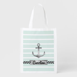 Modern Mint Stripes Watercolor Anchor Personalized Grocery Bag