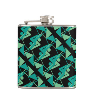 Modern Mirrored Geometric & Abstract Pattern Hip Flask
