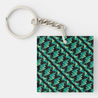 Modern Mirrored Geometric & Abstract Pattern Keychain