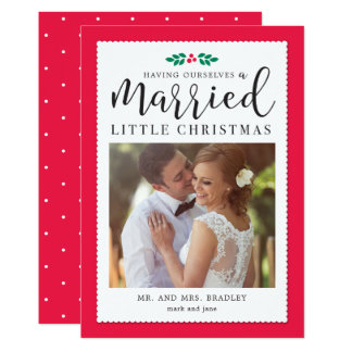 Modern Mistletoe Newlywed Christmas Holiday Card